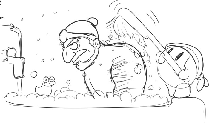 ganondorf bathing while being scrubbed by waddle dee