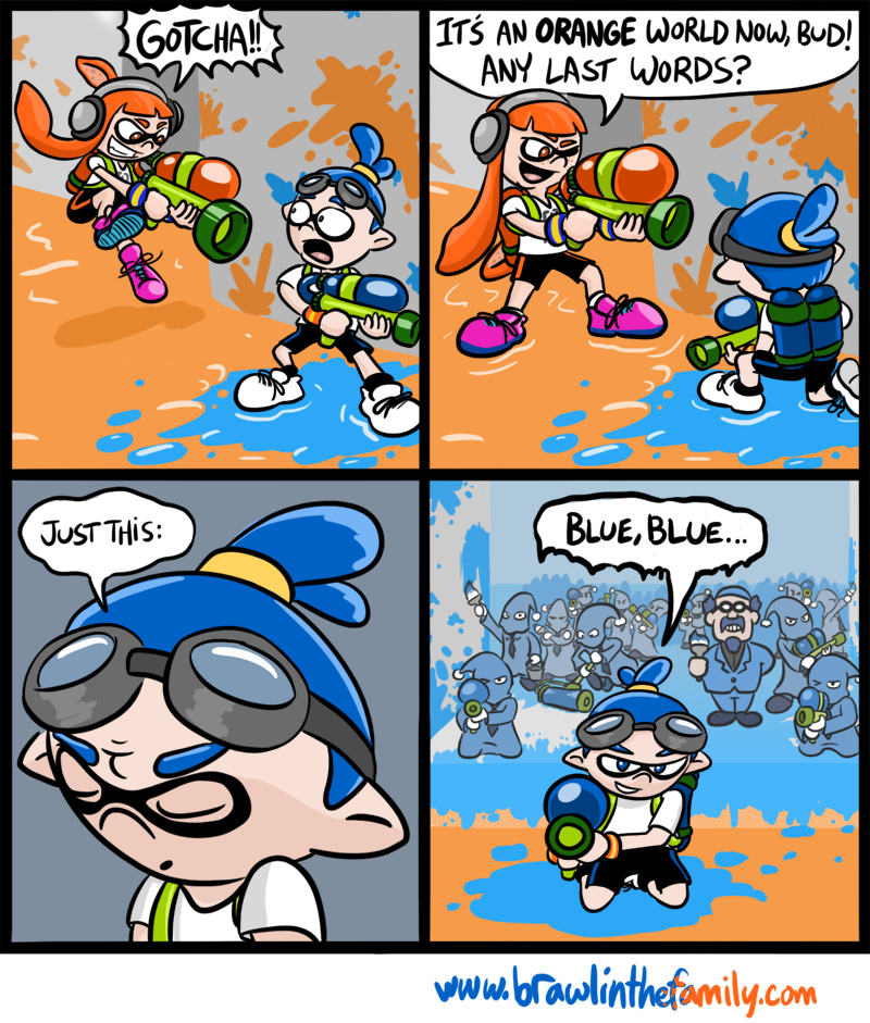 Drawing this made me suddenly realize how badly I want a Happy-Happyism battle in Splatoon.